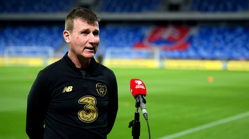 Stephen Kenny fulfilling media duties in Bratislave on the eve of the game