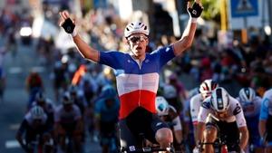 Arnaud Demare celebrates his second stage win