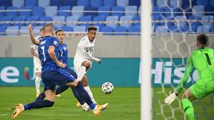 Callum Robinson with an effort on the Slovakian goal