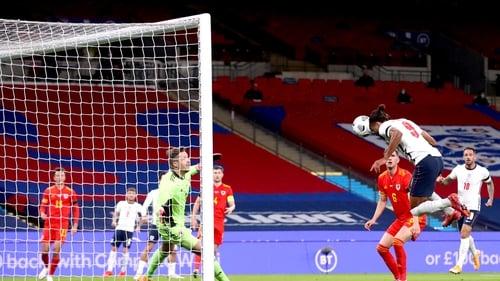 Dominic Calvert-Lewin's header finds the Wales net