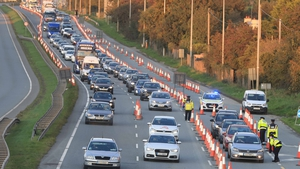 Queues of traffic at an N7 checkpoint this evening (Pic: RollingNews.ie)