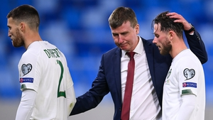 Stephen Kenny consoles Matt Doherty and Alan Browne after they missed penalties int he shootout