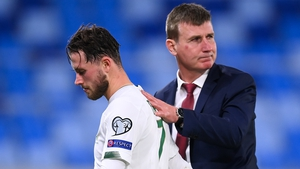 Stephen Kenny consoles Alan Browne after Ireland's penalty shootout loss to Slovakia in the Euro qualifiers