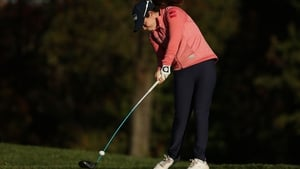 Leona Maguire plays her shot from the third tee