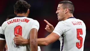Dominic Calvert-Lewin and Conor Coady celebrate England's second goal