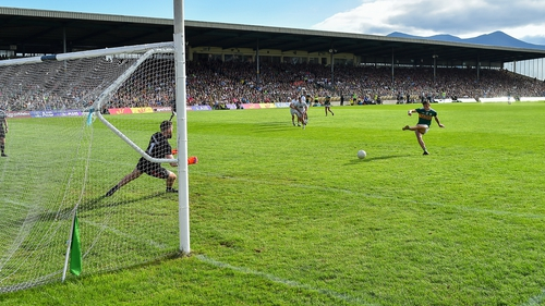 Kerry's David Clifford scores from the spot during last season's championship clash with Kildare