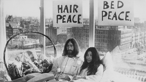 """And Lennon's on sale again: John Lennon and Yoko Ono pictured at one of their """"bed-ins"""" for peace"""