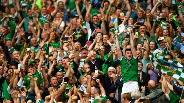 Declan Hannon lifts the Liam MacCarthy Cup after Limerick beat Galway in the 2018 All-Ireland final