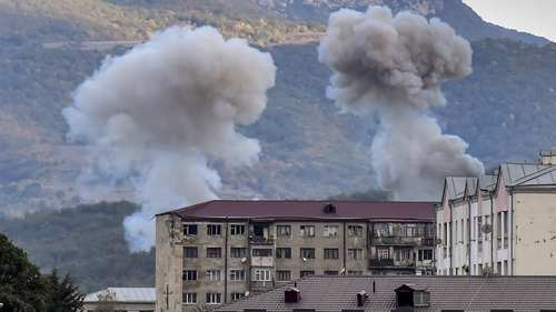 Smoke rises after shelling in Stepanakert on Friday