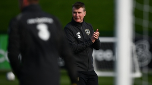 Stephen Kenny observes training ahead of the Wales game