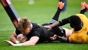 Jordie Barrett crosses the whitewash for the All Blacks