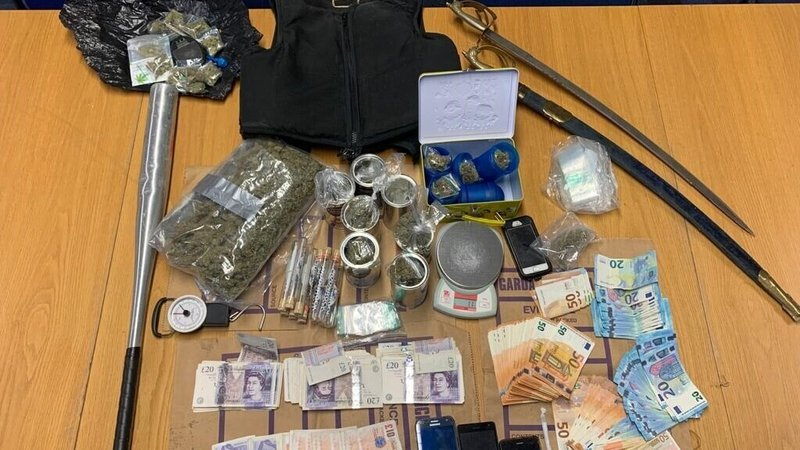 Drugs,           cash and a bulletproof vest were among the items seized by           gardaí