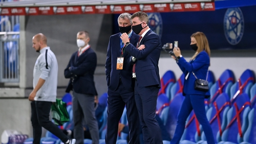 Gary Owens and Stephen Kenny survey the action in Slovakia