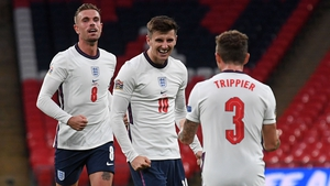 Jordan Henderson, left, and Kieran Trippier, right, congraulate England goal corer Mason Mount