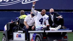 Dak Prescott is carted off the field after sustaining the leg injury