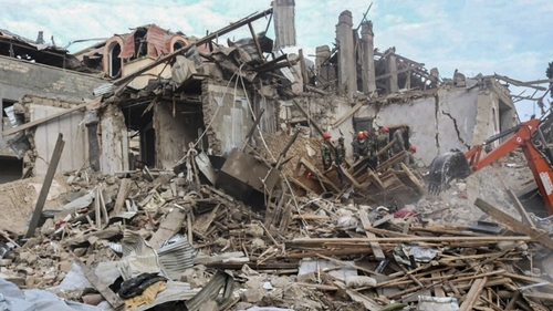 A handout photo from Azerbaijan Foreign Ministry shows houses allegedly damaged by a recent shelling in Ganja