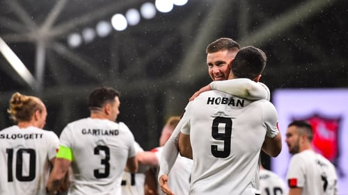 Patrick McEleney and Pat Hoban celebrate their Europa League play-off win over Ki Klaksvik at Aviva Stadium