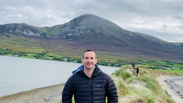 RTÉ Newsroom's Dimitri O'Donnell on Bertra Strand, Westport County Mayo. Kerry, Connemara and the Aran Islands were also visited