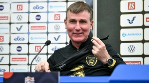 Stephen Kenny facing the local media in Finland