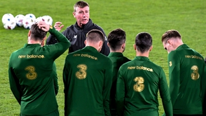 Stephen Kenny working with the Irish players in the stadium in Helsinki ahead of the game against Finland