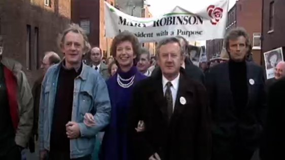 Presidential Candidate Mary Robinson on the Campaign Trail in the Liberties, Dublin (1990)