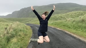Go ahead and jump: Aisling Moloney leaping in the rain in Donegal