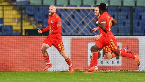 Jonny Williams celebrates his goal in Sofia