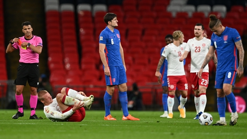 Harry Maguire is just the third England international to see red at Wembley