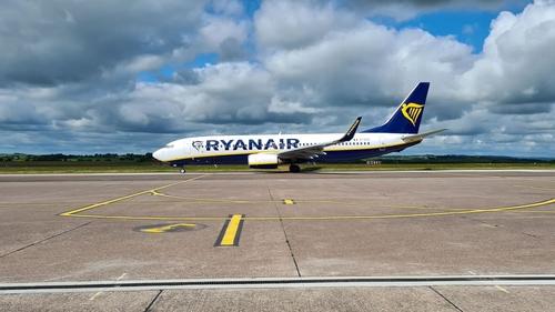 A Ryanair plane at Cork Airport