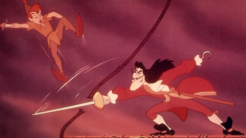 Peter Pan duels with Captain Hook in the 1953 animated film