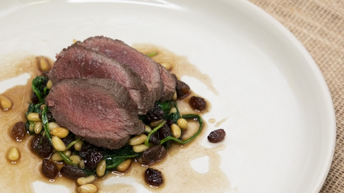Pan fried venison with Catalan spinach