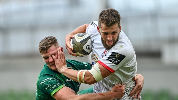 Stuart McCloskey tackled by Connacht's Peter Sullivan after rugby's August resumption