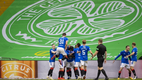 Rangers' Connor Goldson celebrates his goal with teammates