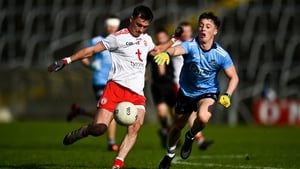 Darragh Canavan of Tyrone in action against Conor Tyrrell of Dublin
