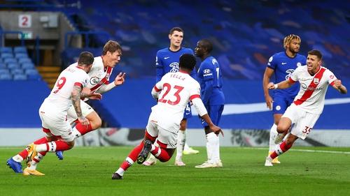 Jannik Vestergaard(L) of Southampton wheels away to celebrate after scoring to make it 3-3