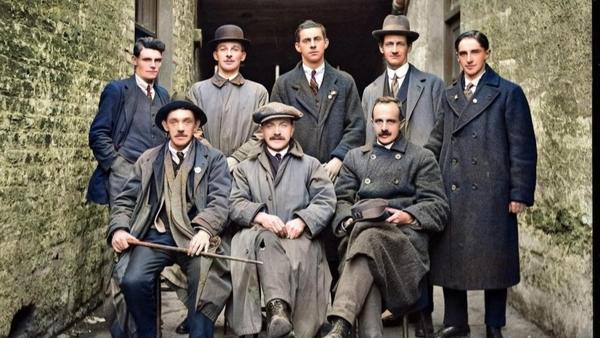 A colourised pic of Terence MacSwiney and comrades