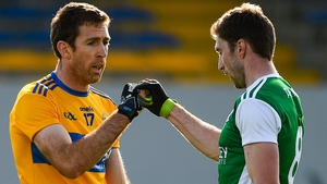 Gary Brennan of Clare (l) and Eoin Donnelly of Fermanagh acknowledge each other at full-time