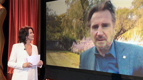 Host Deirdre O'Kane chats to Liam Neeson during the virtual IFTAs 2020