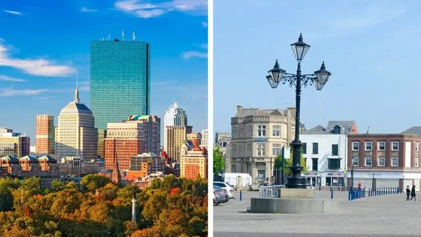 Boston, Massachusetts (L), and Boston, Lincolnshire (R) (iStock/PA)