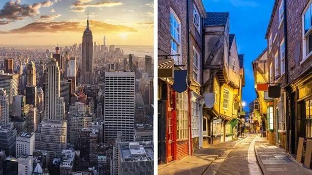 New York, New York (L) and York, North Yorkshire (R) (iStock/PA)