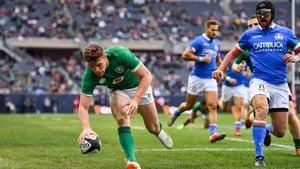 Garry Ringrose scores a try in the 54-7 rout of Italy in November 2018