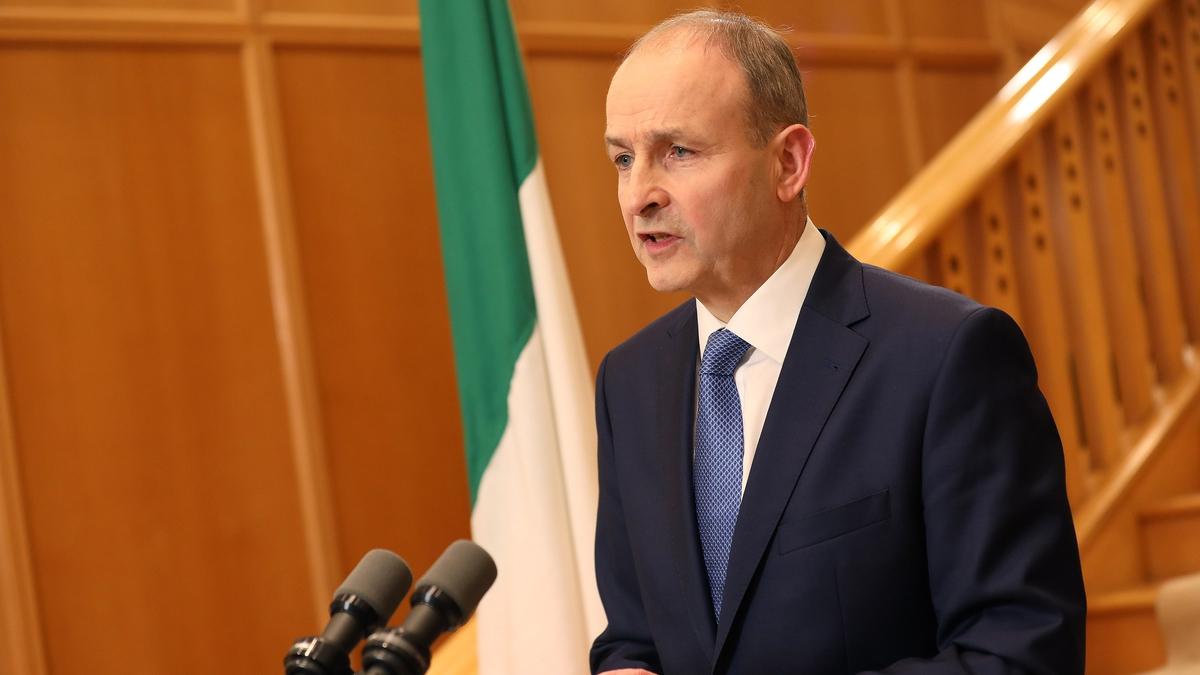 Taoiseach Micheál Martin making a public address tonight (Pic: Rolling News)