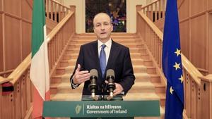 Taoiseach Micheál Martin making a public address tonight