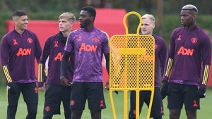 Manchester United players tune up in training before the trip to Paris