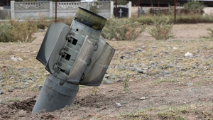 Heavy artillery in the streets of a village in Nagorno-Karabakh