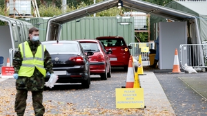 A soldier working at the Covid-19 testing centre at the Aviva Stadium in Dublin today (Pic: RollingNews.ie)
