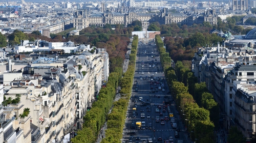 The duplex is on one of the most expensive streets in Paris, near the Champs-Élysées