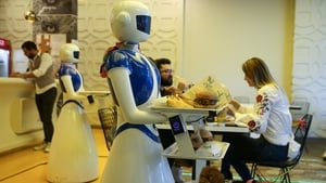 Robot serving staff at work in an Istanbul restaurant