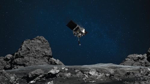An artist's rendering shows OSIRIS-REx descending towards Bennu to collect a sample of the asteroid's surface
