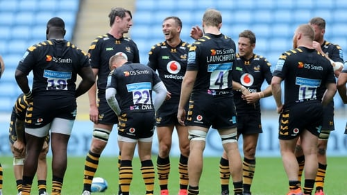 Wasps players gather after their victory during the Gallagher Premiership Rugby first semi-final match